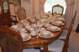 Gorgeous Set of China Service for 12! displayed on Beautiful Dining Room Table!