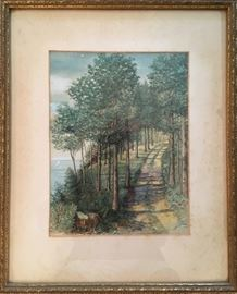 Watercolor...A Path Through The Trees. Signed C. W. Dumper.  8x10.