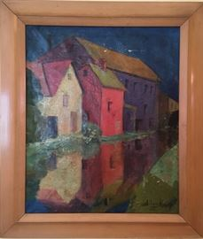 Houses Reflected....a Signed Oil Painting.  18x20.