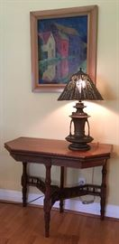 "Victorian Game Table; Table Lamp with Hand Pierced Tin ""Iris"" Shade"
