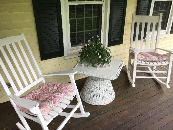 Adirondacks with wicker table