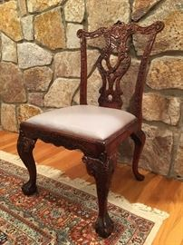 Hand Carved Italian Claw Foot Dining Chairs
