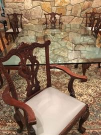 Set of Six Carved Dining Chairs