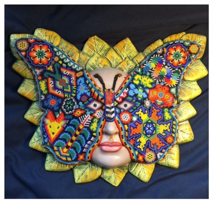 Huichol Indian art mask