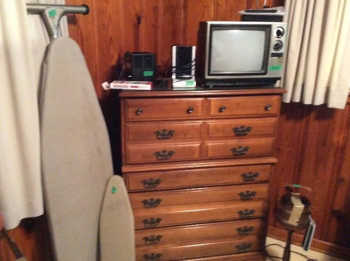 Chest, ironing boards, Small TV, speaker & miscellaneous equipment