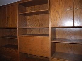 Large three piece bookcases, cabinets