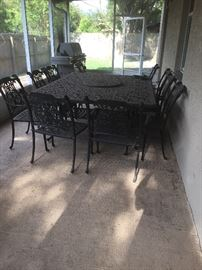 10 seats  cast iron patio table