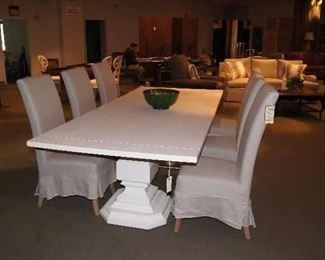 Somerset Bay Dining Table with Set of Six Furniture Classics Chairs