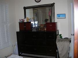 newer black dresser large mirror