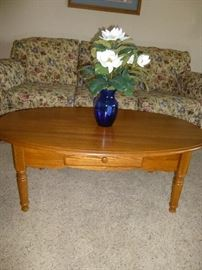 OAK OVAL COFFEE TABLE WITH DRAWER