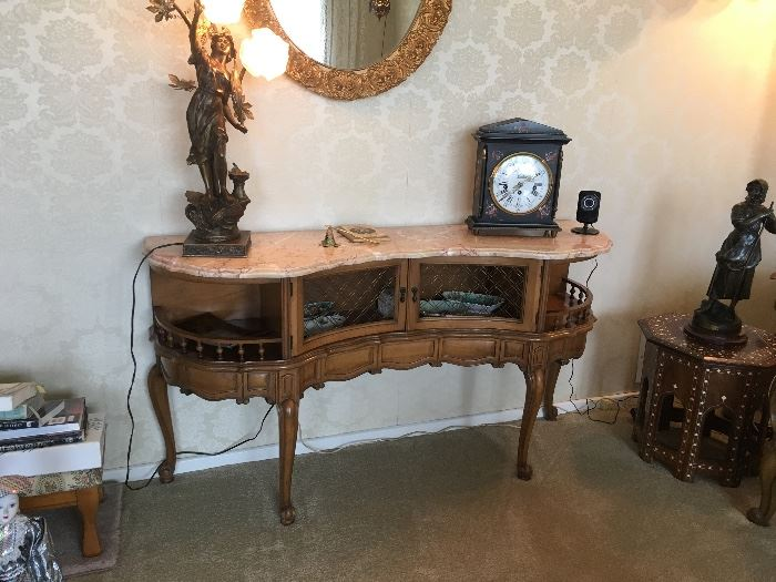 Marble top antique console table