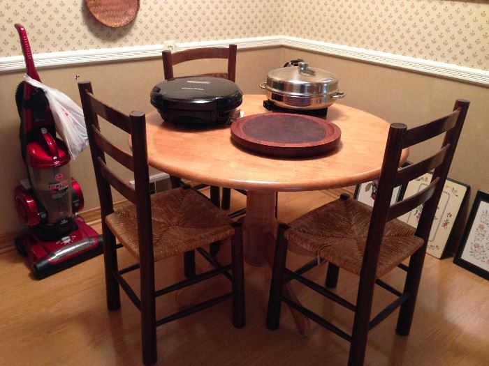 Butcher Block Table, Rushed Seat Chairs, Electric Grill, Electric Fry Pan, Dansk Cutting Board