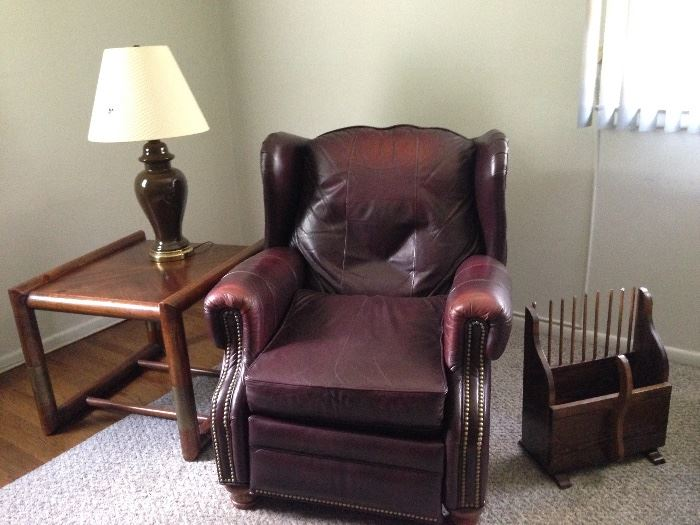Leather Recliner, End Table, Lamp, Cranberry Scoop Magazine Rack