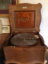REGINA Music Box with a large assortment of Disks. ** Works GREAT!!!