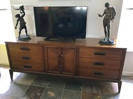 mid century console, two bronze mid 19th century statues, Bacchus and Dionysus