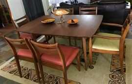 mid century dining table  with six chairs, walnut veneer