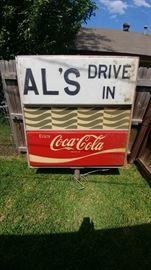 Vintage retro AL'S Drive In and Coca Cola Sign