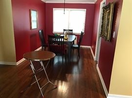 RAYMOUR & FLANIGAN DINING ROOM TABLE AND FOUR CHAIRS - ONE LEAF LIKE NEW RARELY USED. PAID $2500 FOR SALE FOR 450.