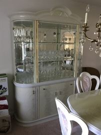 CHINA CABINET W/GLASS DOORS, STEMWARE TOO