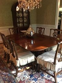 Double pedestal dining table with 8 antique English chairs