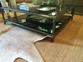 Regency style brass and smoked glass coffee table