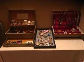 Costume Jewelry...Tons of Pins, watches, earrings, bracelets.....