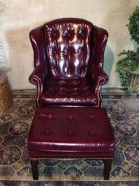 Burgundy leather Hickory Wing Chair and ottoman