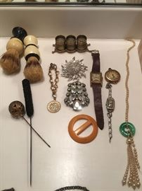 Vintage pins, brooches, watches etc..