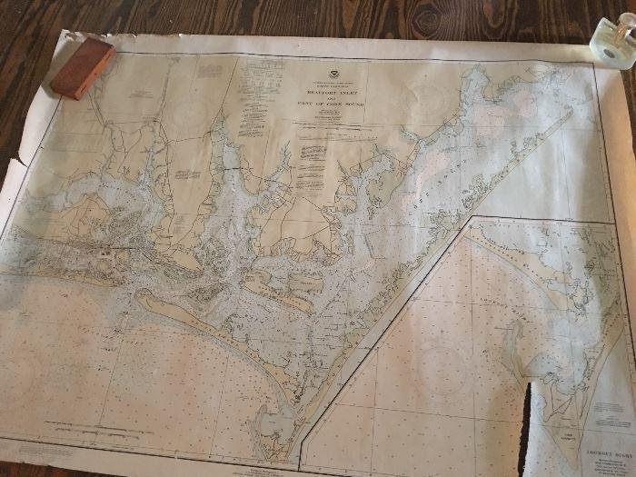 Vintage map of Beaufort, NC