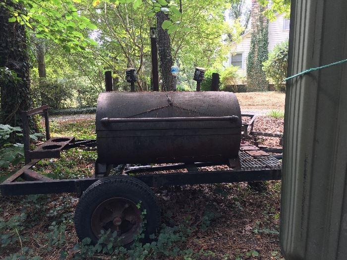 Large smoker on trailer