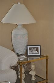 1 of 2 Table Lamps, Glass and Gold End Table, Decor