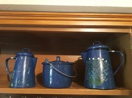 We have many pieces of enamel ware at this sale