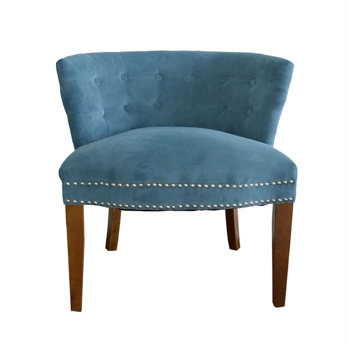Barrel Back Chair In Blue A Barrel Back Chair In Blue This Chair Features Barrel Back Chair In Blue A Barrel Back Chair In Blue