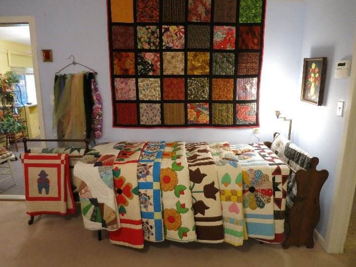 We have many beautiful quilts in this sale. This is about half of the quilts and bedspreads in the sale.  Half are handmade and half are store bought.