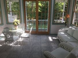 Sunroom furniture wicker set & glass top table with chairs