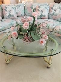 French Provincial oval glass top table