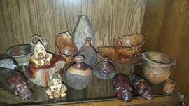 Burled wood figurines