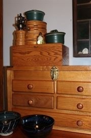 Decorative storage boxes and pottery items