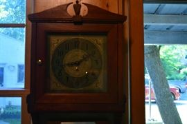 Antique wall clock - works, with key