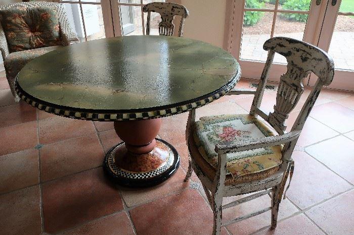 MacKenzie-Childs Pedestal Table w/2 Chairs