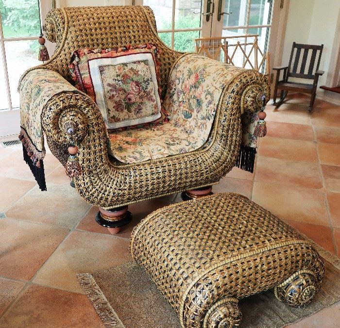 MacKenzie-Childs Large Ratton Chair w/Ottoman