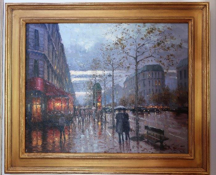 "Eugene Paprocki Street Scene Oil Painting 29""x23"""