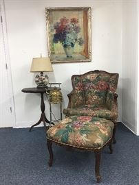 Quality Period Antiques and Original Art. French Louis XV arm chair and ottoman, and an English Victorian brass spirit kettle teapot on brass burner warmer stand by Soutter and Son