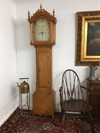 Circa 1820 Seth Thomas Longcase clock with wood movements, cabinet in style associated with New England.   The weights are missing so the clock does not currently run.  The wooden movements had been removed some time back and replaced by a battery operated movement.   I found the original movement packed away in a box of used office phones.  I removed the battery operated movement and put the wood movement back in its rightful place.                     Pink Sign Estate Sale: Corsicana, TX July 19th - 22nd, 2017