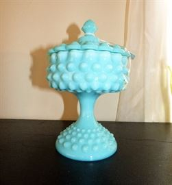 Fenton hobnail covered candy dish/compote