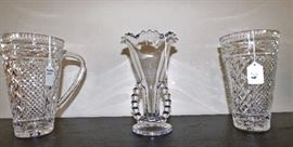 Candlewick crystal vase in center, Princess House crystal pitcher and vase