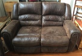 Ashley Furniture Micro Fiber Faux Leather Upholstered Nail Stud Double Love Seat /Recliners with  Matching sofa .