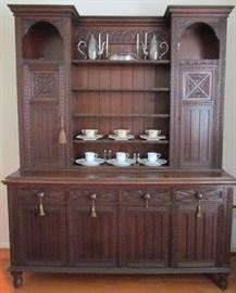 """Antique Handcarved Solid Oak Welsh Cupboard. Handcut dovetailed drawers show visible scribing lines.  Pre 1850's. Solid Oak Including drawer interiors and cupboard linings.  Oak was scarace in Europe by 1800 so lessors woods were used for furniture interiors. So this piece could date as early as the 18 Century. Overall(91""""H x 72.5""""W x 22""""D)"""