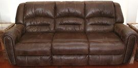 Ashley Furniture Micro Fiber Faux Leather Upholstered Nail Stud Sofa /Recliners with Matching Love Seat