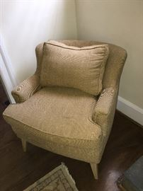 Pair of linen club chairs